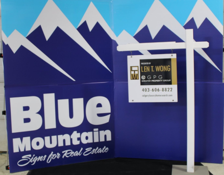 Blue Mountain Sign - White Viny Lawn Post