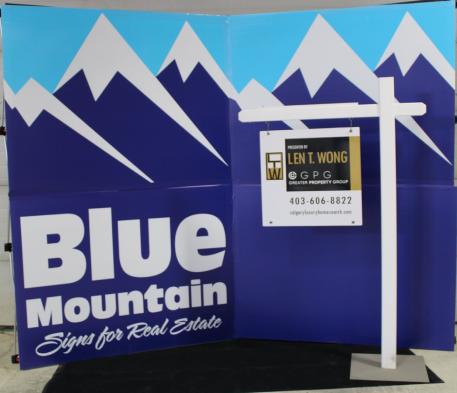 Blue Mountain Sign - White Viny Lawn Post